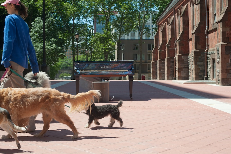 Dogwalker at Marc's Sing for Hope Piano on Roosevelt Island, Manhattan