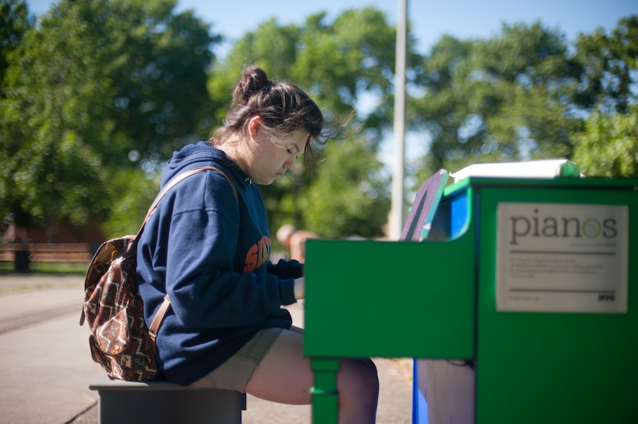 Girl Playing Claudia's Sing for Hope Piano in Juniper Valley Park, Queens