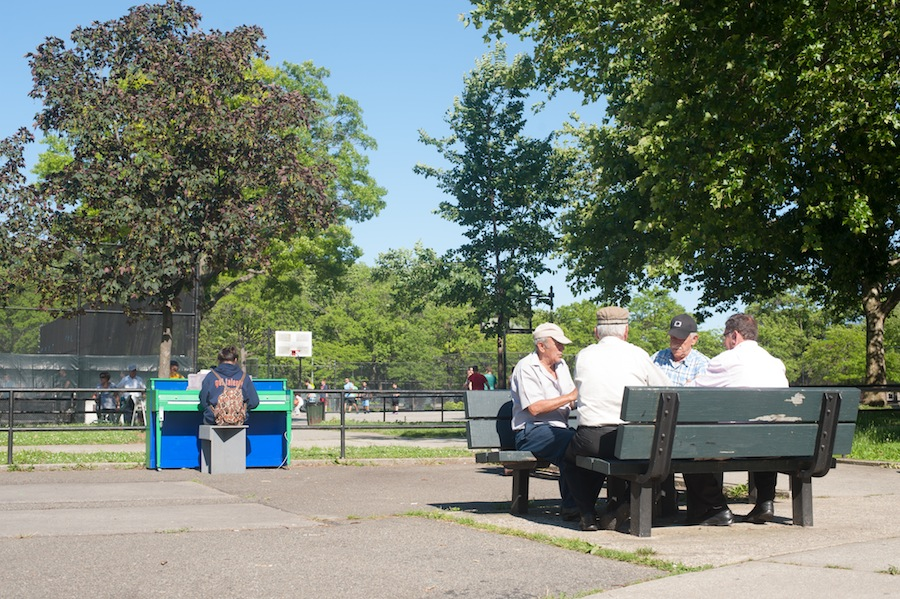 Girl Playing Claudia's Sing for Hope Piano in Juniper Valley Park While Men Play Dominos, Queens