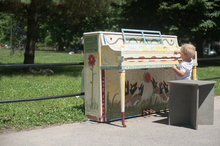 Girl Playing Scott's McCarren Park Sing for Hope Piano, Brooklyn