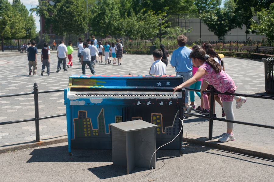 Girl Unable to Resist Sing for Hope Piano at Maria Hernandez Park, Brooklyn