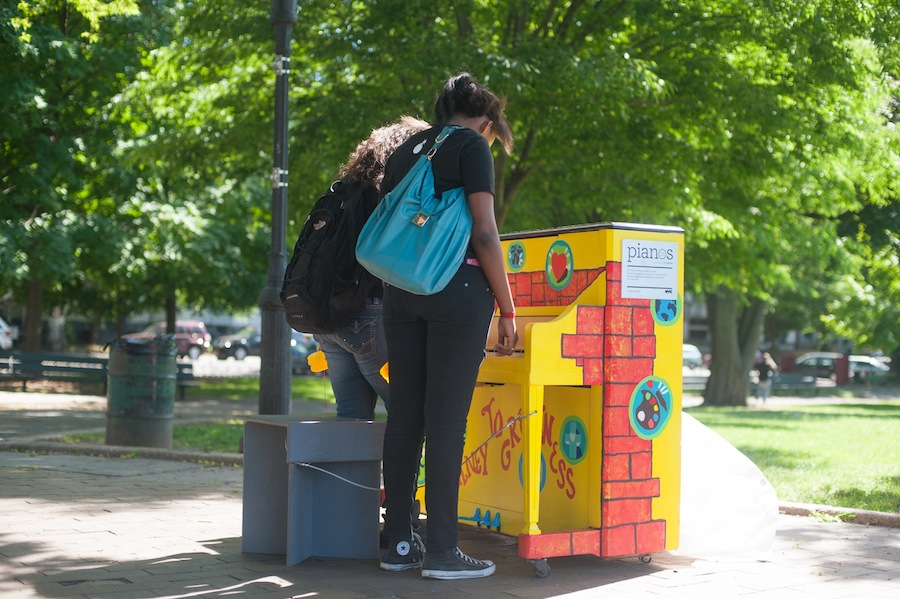 Girls at the Sing for Hope Youth Chorus Piano, Brower Park, Brooklyn