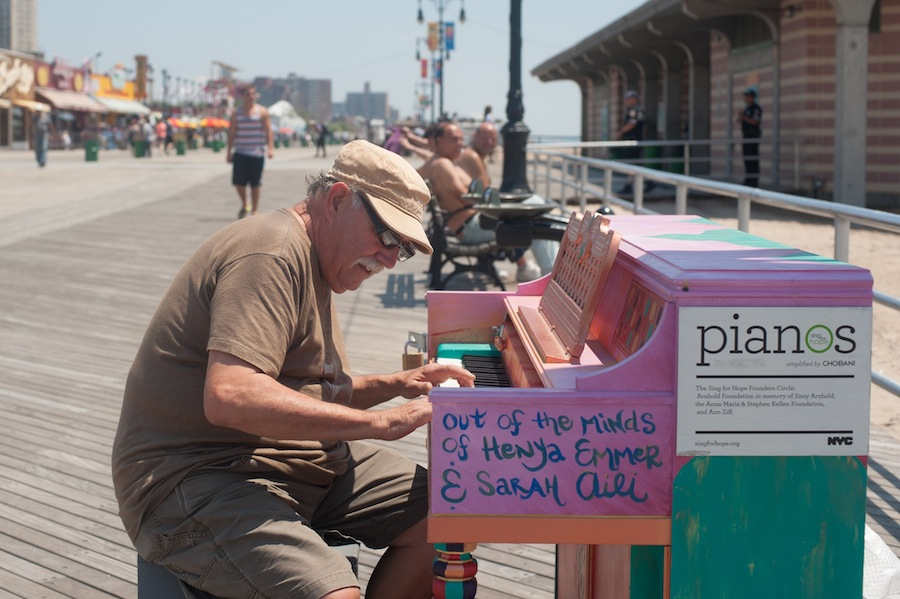 Lennie Playing Sing for Hope Piano at Coney Island, Brooklyn