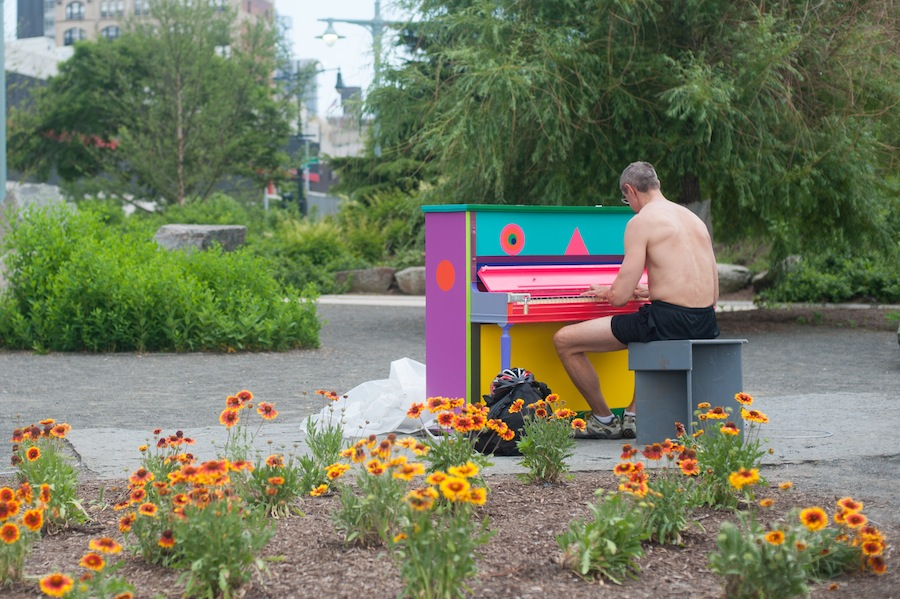 Man Playing Elizabeth's Sing for Hope Piano on Hudson River Park Pier, Chelsea