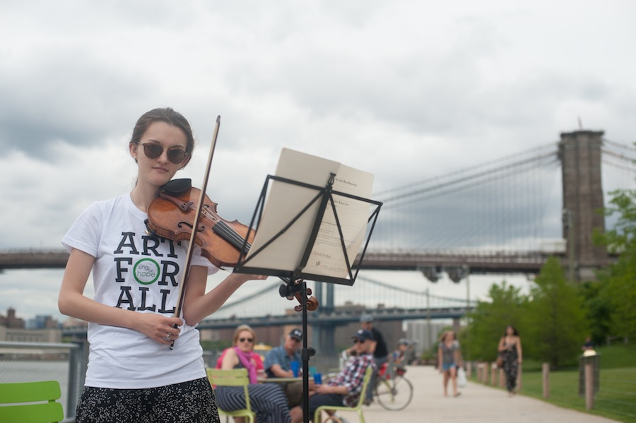 Margo Playing at the Brooklyn Bridge Sing for Hope Piano, Brooklyn