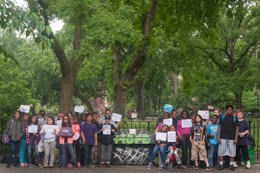 PS 34 Kids at Their Sing for Hope Piano in Tompkins Square Park, Manhattan