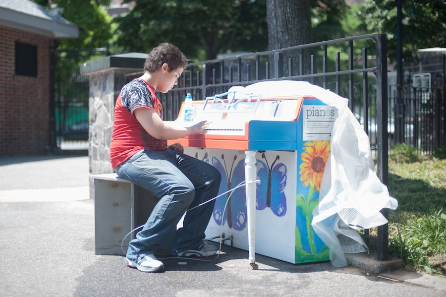 Playing William's Sing for Hope Piano at Highbridge Park, Wallenburg Playground
