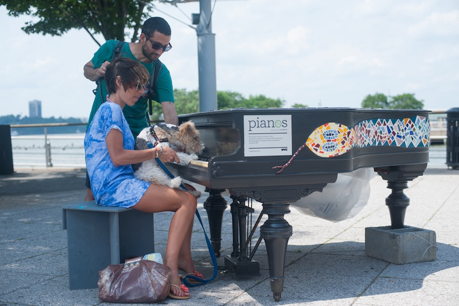 Esmeralda Playing a Sing for Hope Piano, Christopher Street Pier