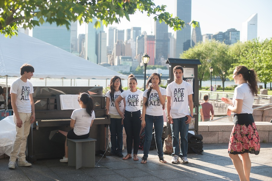 The Sing for Hope Youth Chorus at Jenna's Sing for Hope Piano, Gantry Plaza State Park, Queens