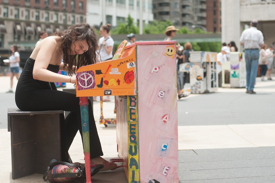 Woman Jamming at Sing for Hope Piano in Lincoln Center