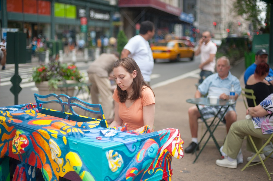 Woman Playing Jessica's Sing for Hope Piano in Greeley Square, Midtown Manhattan