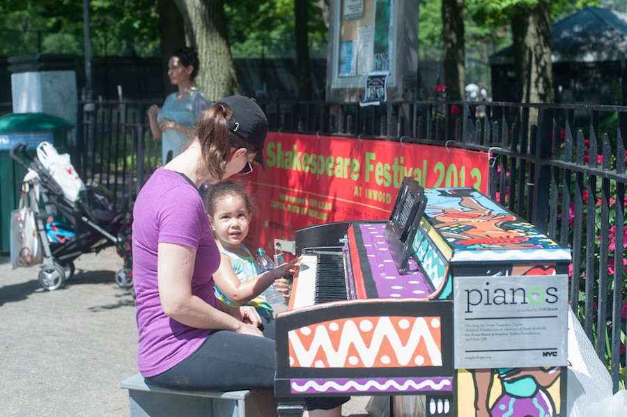 Woman and Child Playing Anya's Sing for Hope Piano, Inwood Park