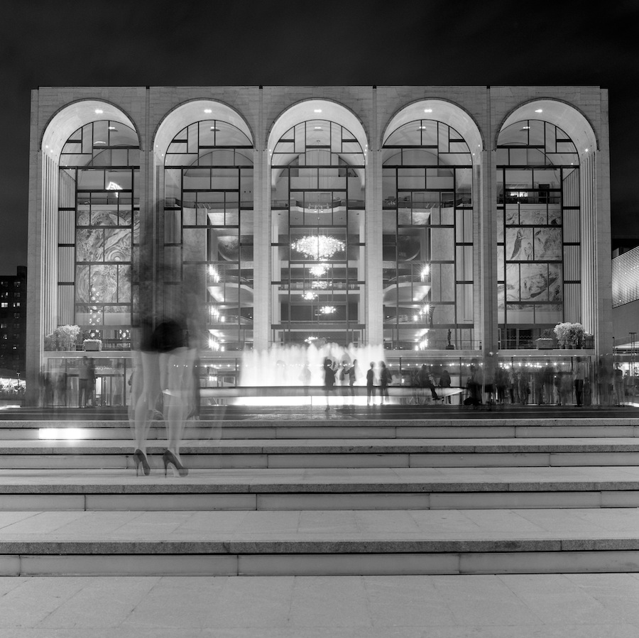 Lincoln Center Plaza Fountain Long Exposure with Guest, Fuji Neopan Acros 100 Film