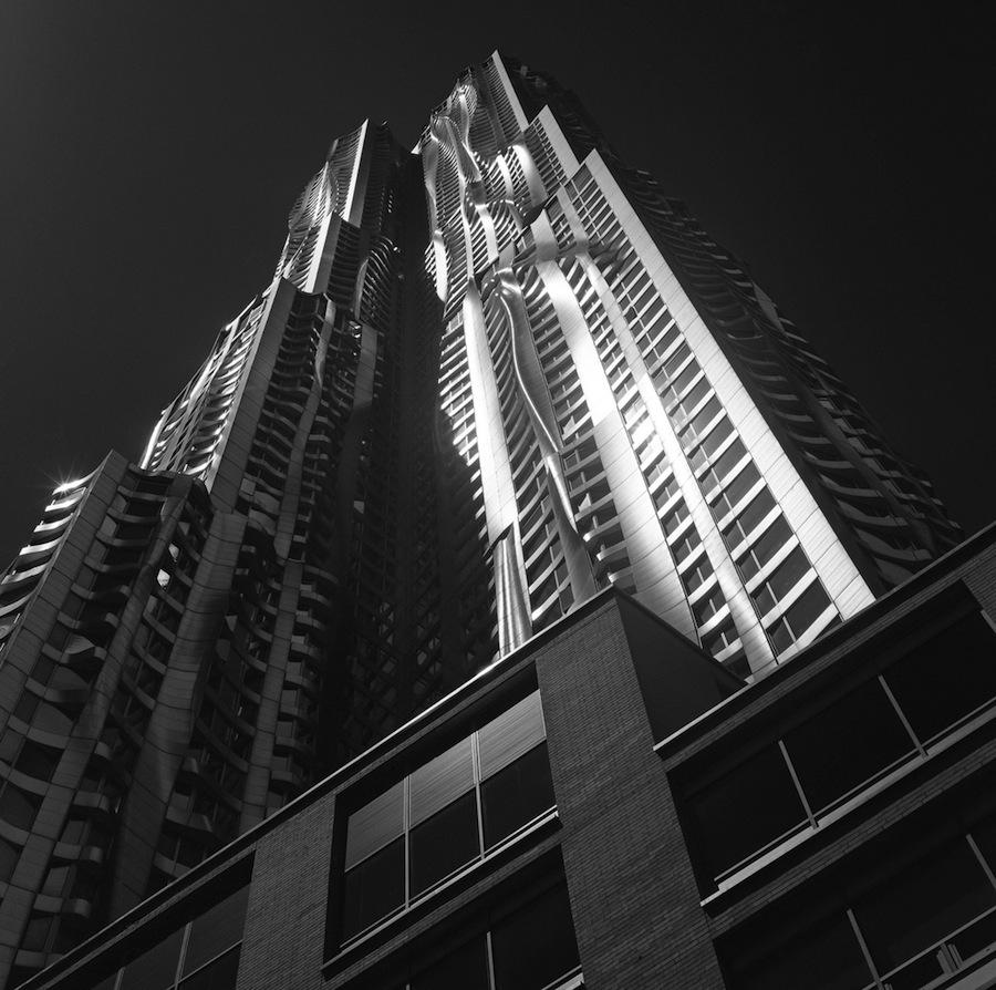 New York by Gehry Building, NYC, Kodak Tri-X 400 Film