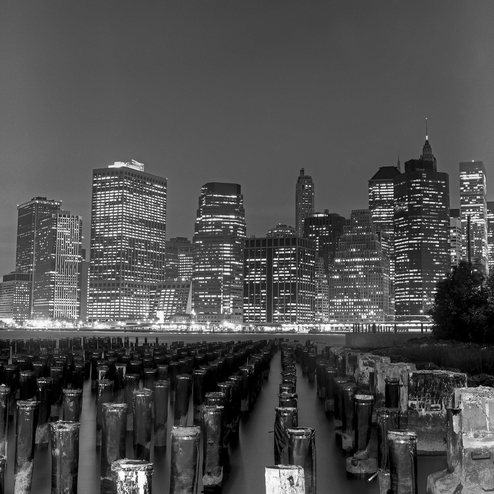 Lower Manhattan from Brooklyn Bridge Park, 6x6 Fuji Acros Film