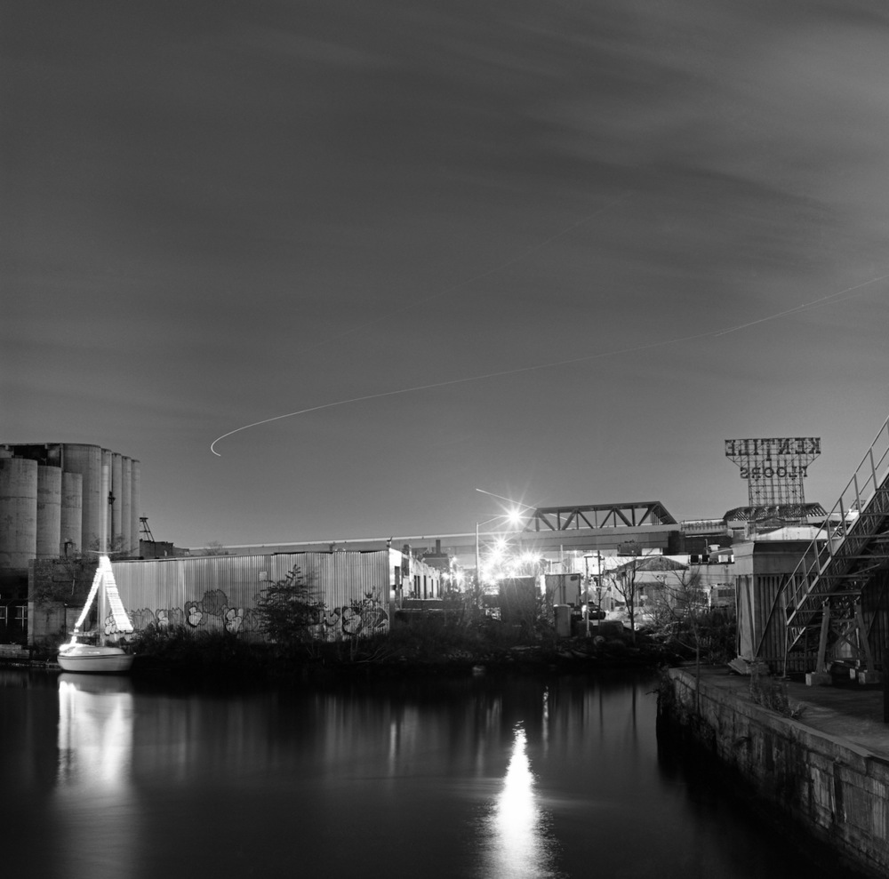 The Kentile Floors Sign and Gowanus Canal at Night, Fuji Neopan Acros Film
