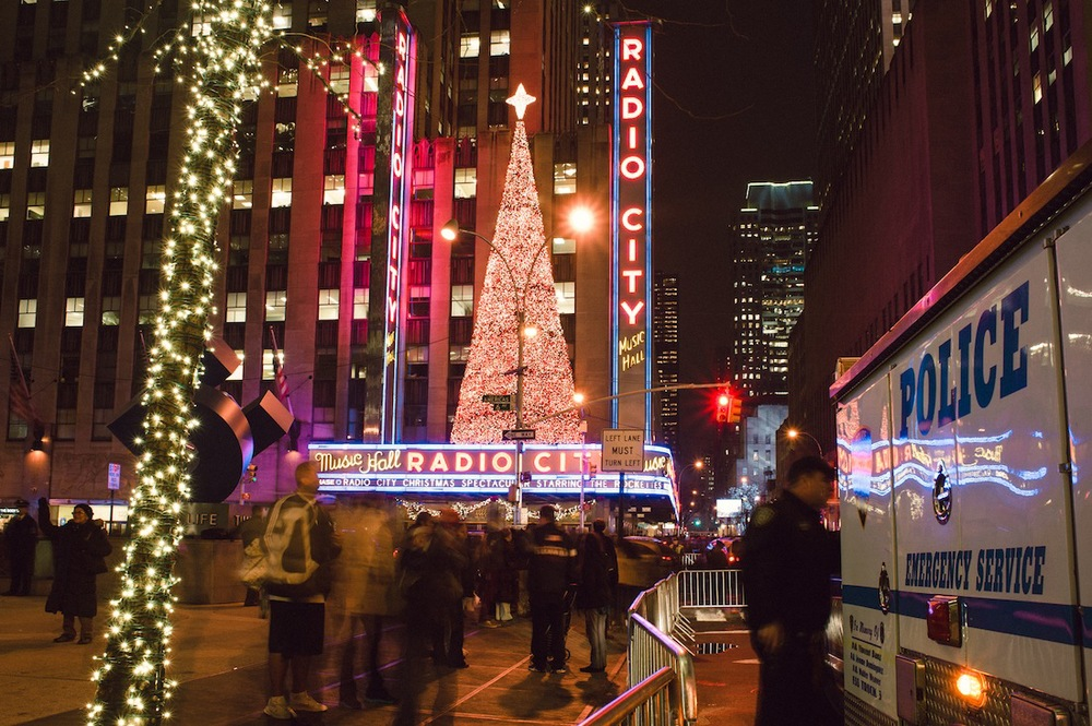 Radio City Muic Hall Lit up for Hollidays, NYC Holiday Decorations