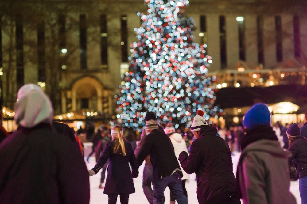 Ice Skaters and Christmas Tree at Bryant Park Ice Rink, 2013 NYC Christmas Decorations