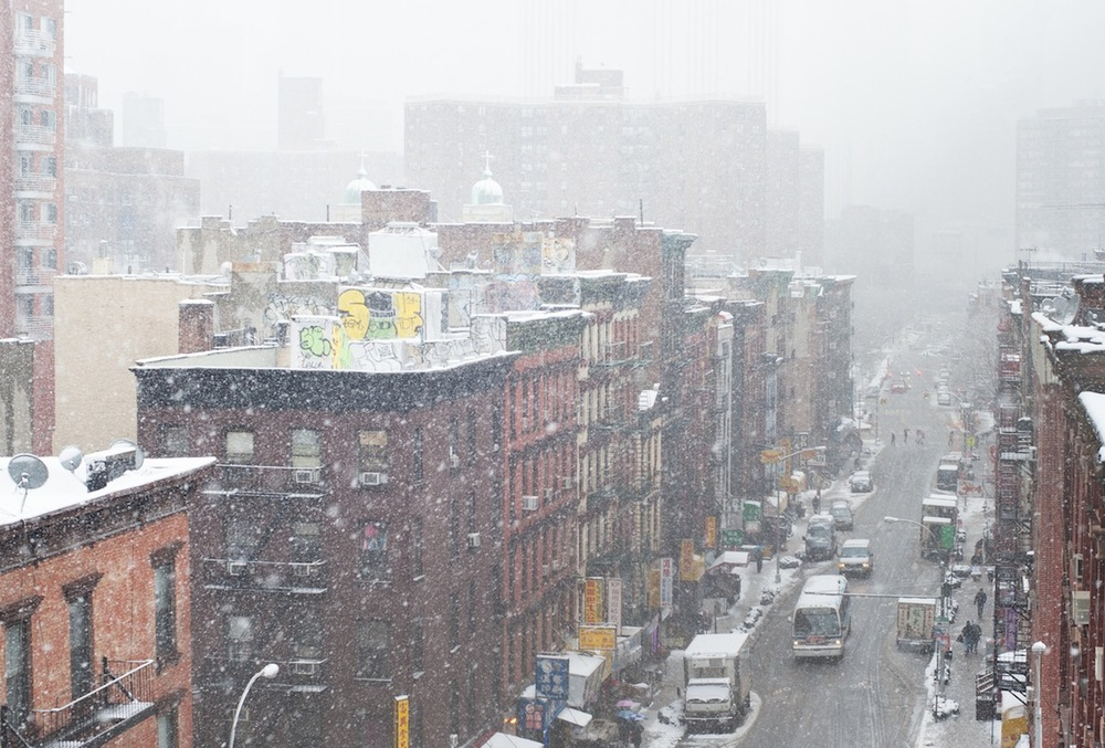 Chinatown Rooftops  and Street in the Snow from the Manhattan Bridge, NYC