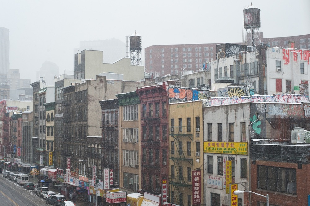 Chinatown Rooftops and Water Towers in the Snow from the Manhattan Bridge, NYC