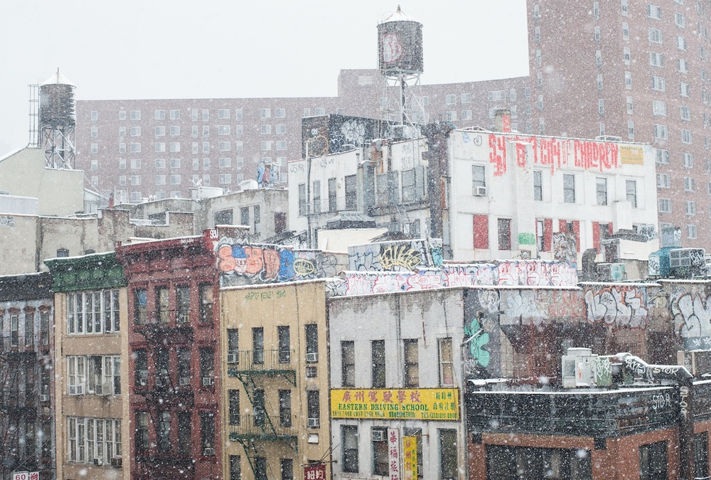 Graffiti and Water Towers in Snowy Chinatown from the Manhattan Bridge, NYC (CLICK for LARGER VERSION on FLICKR)