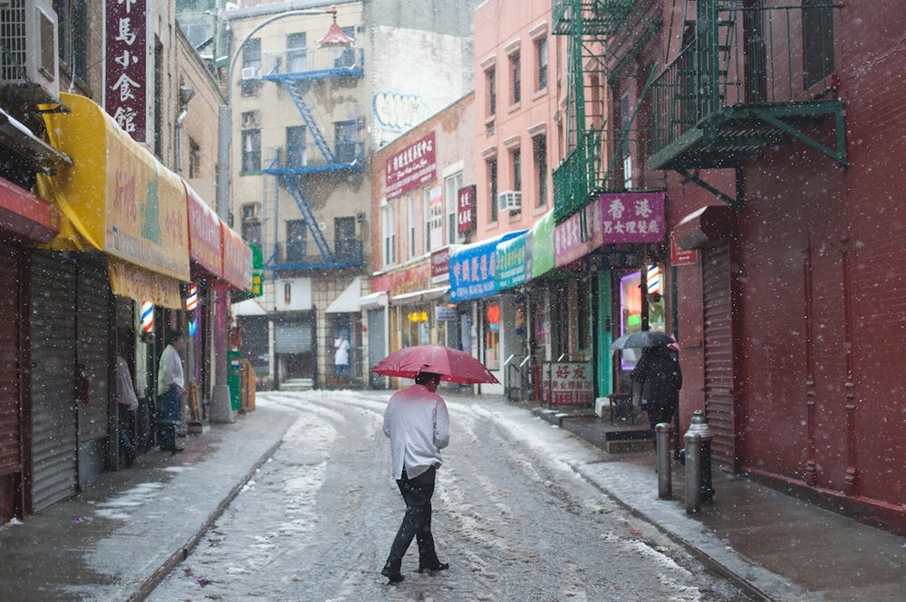 Man with Red Umbrella Walking on Doyers Street, Chinatown, NYC (CLICK for LARGER VERSION on FLICKR)