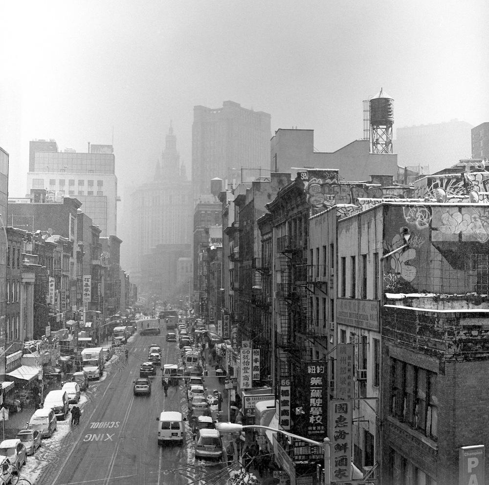 Chinatown Street in the Snow from the Manhattan Bridge, Kodak Tri-X 400 Film