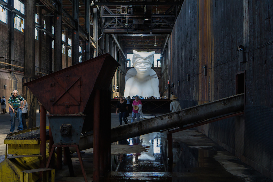 "Looking from the entrance, Kara Walker ""A Subtlelty"""