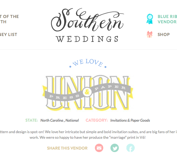 Our   Blue Ribbon Vendor   listing at   Southern Weddings .