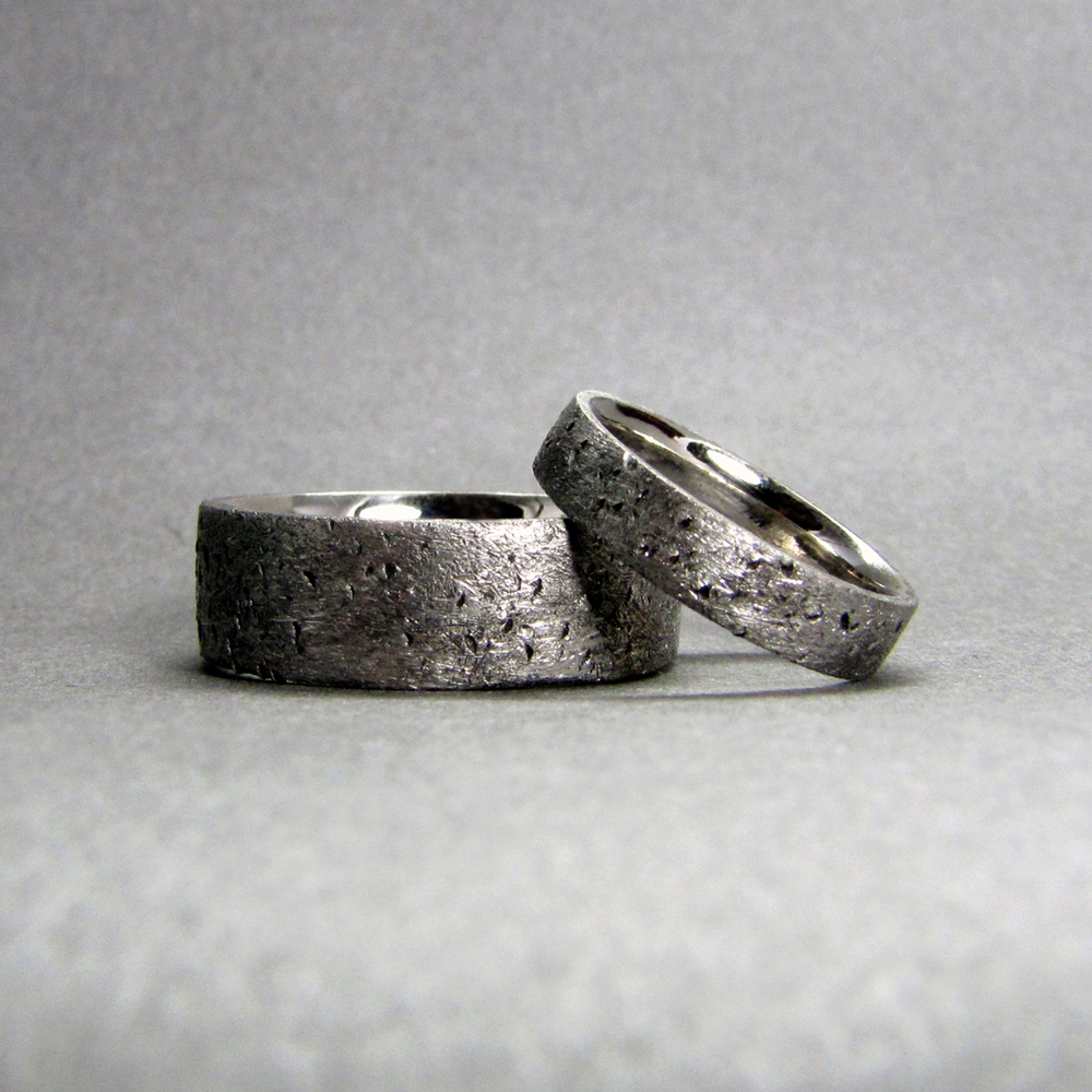 Wedding Band Set, palladium (PD 950) matching bride and groom wedding ...
