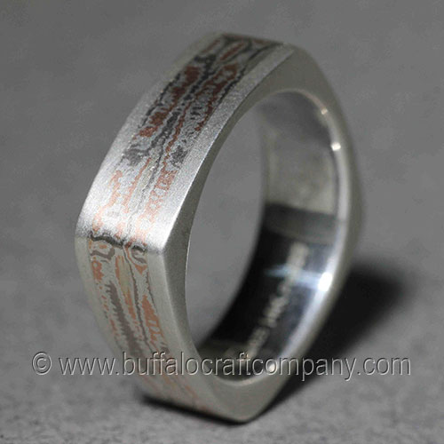 paige mokume gane mens wedding band hand fabricated custom mens wedding band this