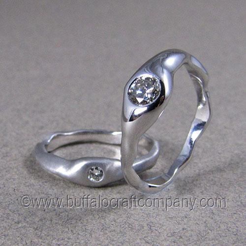 """Dana"" 14k white gold woman's engagement ring and wedding band set Incorporating both a satin and high polish finish."