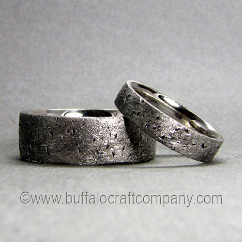 """""""Rustic""""Wedding Band Set,palladium (PD950) matching bride and groom wedding band set Beautifully handcrafted, they've been dubbed as arcadian, imperfectly perfect, organic, industrial and unpaved wedding bands. All of these descriptions work really well. Call them what you want they are pretty awesome to study.Hand fabricated from palladium with a comfort fit interior."""