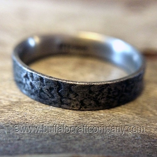 sunken palladium mens wedding band mark designed this sunken texture with our client and - Rustic Wedding Rings