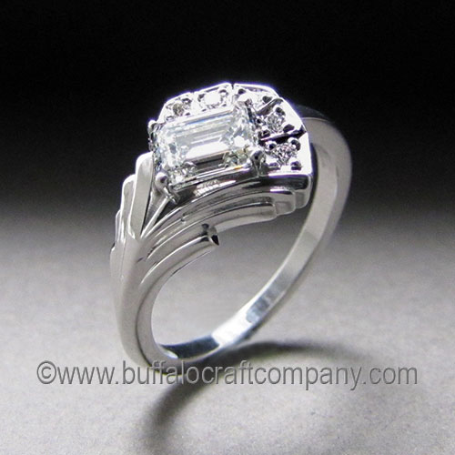 """""""Kerri"""" 14k white gold Our customer came to us wanting to incorporate this heirloom emerald cut diamond into a vintage, Art Deco inspired piece. He was looking for clean lines and an asymmetrical design."""