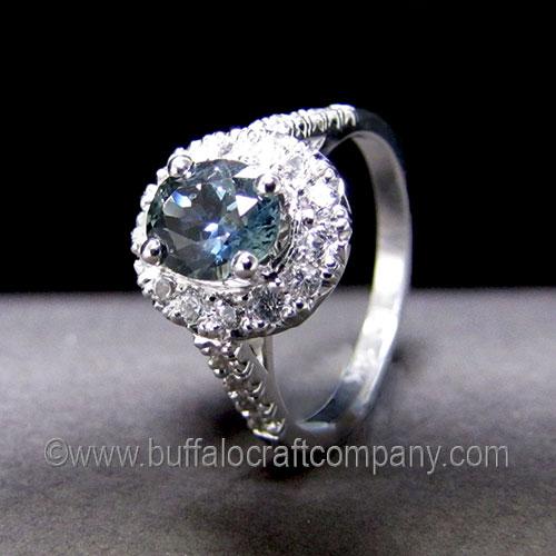 """""""Megan"""" 14k white gold halo engagement ring"""