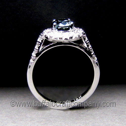 """""""Megan"""" 14k white gold halo engagement ring The ring shank includes 4french set diamondson either side."""