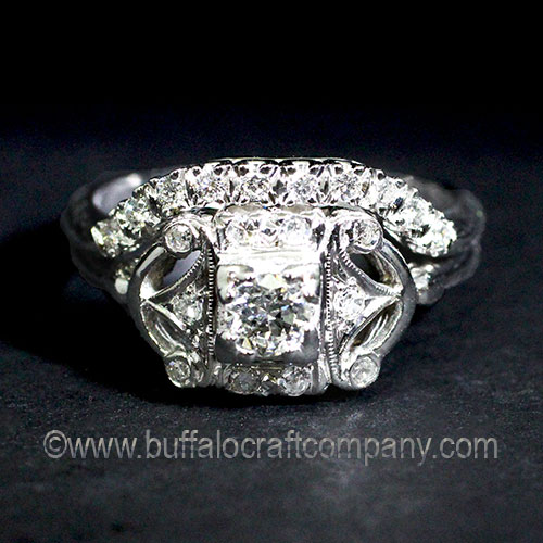 Hand Fabricated-Hand Cut-14k White Gold-Diamond-Fishtail-Wedding Band-Antique-Vintage-Ring