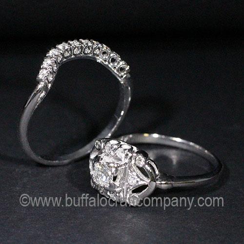 14k white gold, diamond fishtail wedding band