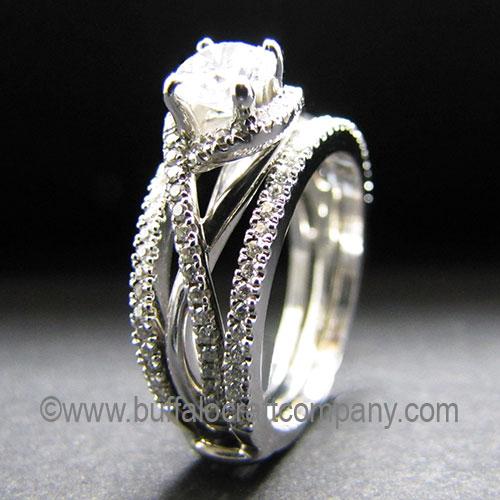 14k white gold, cradle wedding band,French set diamonds