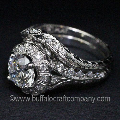 Hand Fabricated-Hand Cut-Platinum-Wedding Band-Vintage-Antique-Milgrain-Hand Engraved-Wheat Leaf-Paisley-Ring