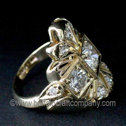 Hand Fabricated Vintage Style Diamond Ring-Art Deco-Gold-Milgrain-Flower-Petals