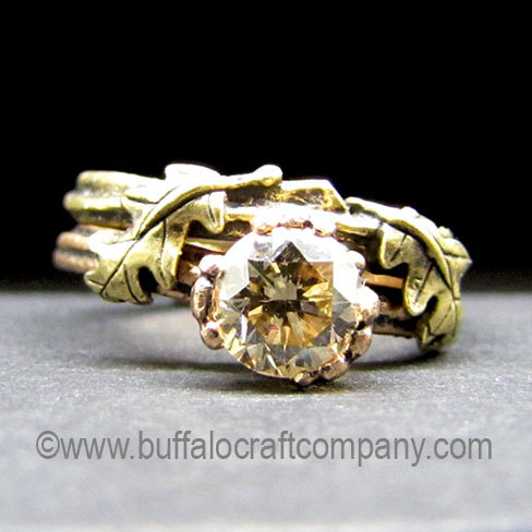 antebellum-nature-inspired-organic-twig-branch-oak-leaves-engagement-ring-wedding-band