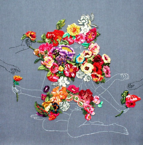 """La florista"", embroidery on fabric, 59"" x 61"", 2009 by Ana Teresa Barboza."