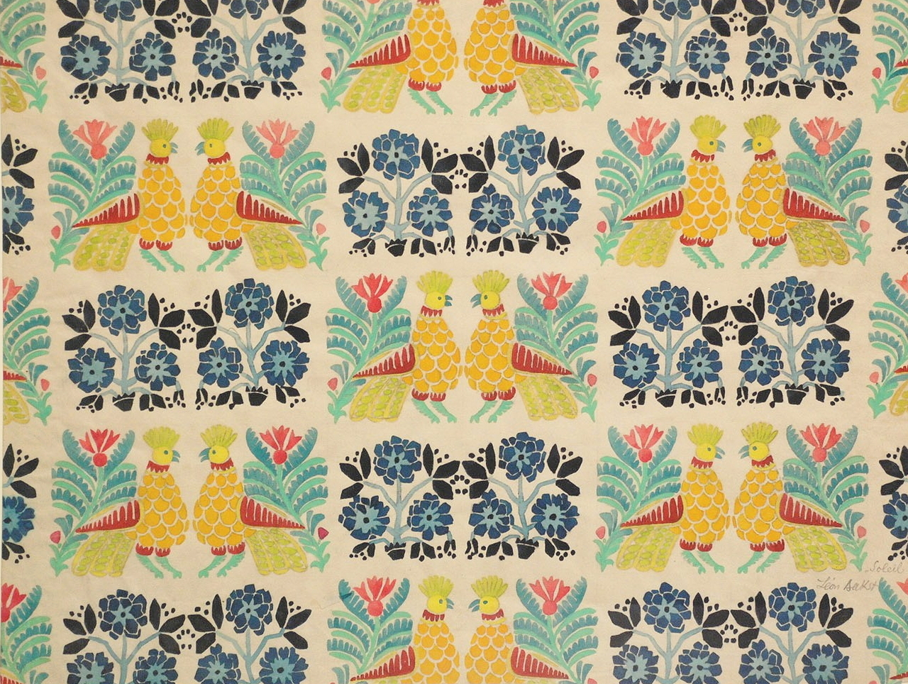 cavetocanvas: Léon Bakst, Textile Print, c. 1922