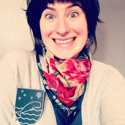 Check out my lovely paper whale brooch my friend Maria made me. This is the face of excitement.