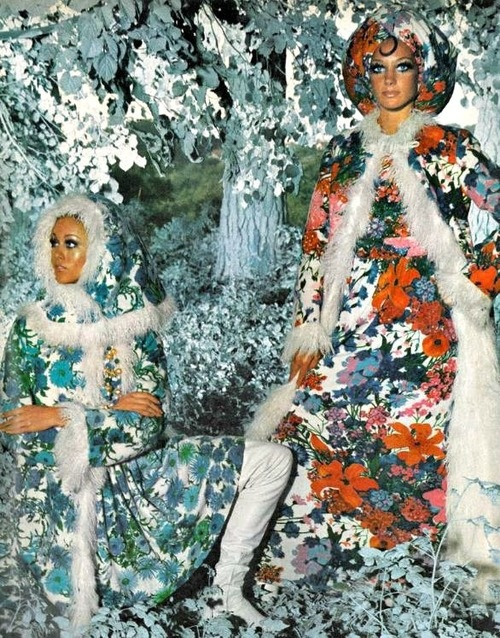 theswinginsixties: Winter fashions for Vogue, November 1968. Head to toe floral - even in winter!