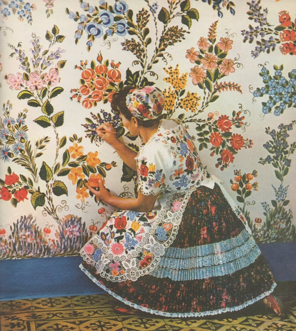 livesandworks: Fun Photo Friday Folk Art by Folk Artist in Hungary ByGink Károly Published 1968 by Corvina Press So flowery - I love it! I recently scooped up a really great book on folk art. I can't wait to try out some flower painting!