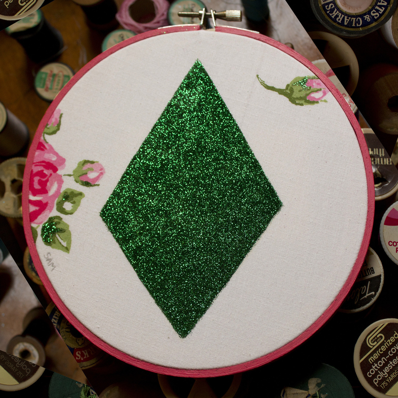 "Geometric #5, Emerald City, 5"" (vintage fabric, glitter) 2012"