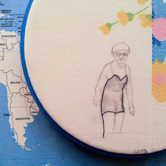 "Wading, 6"" (vintage fabric, thread) 2012"